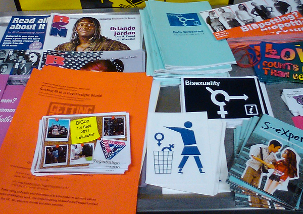 photo of the leaflets trolley at Manchester BiFest 2011