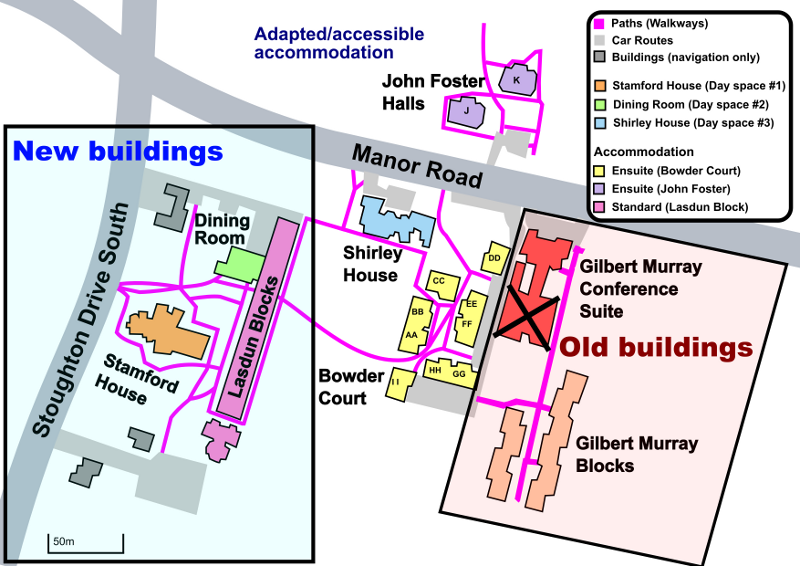 Map of old and new BiCon buildings